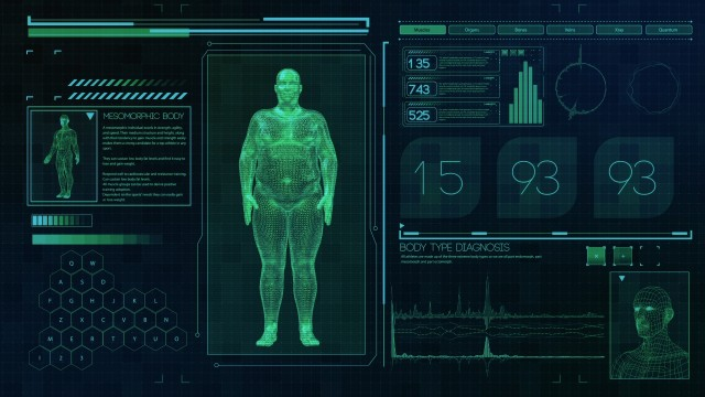 Endomorphic Male body type. Fat man on futuristic green touch screen interface