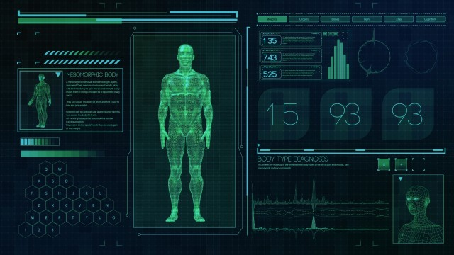 Mesomorphic Male body type. Strong man on futuristic green touch screen interface