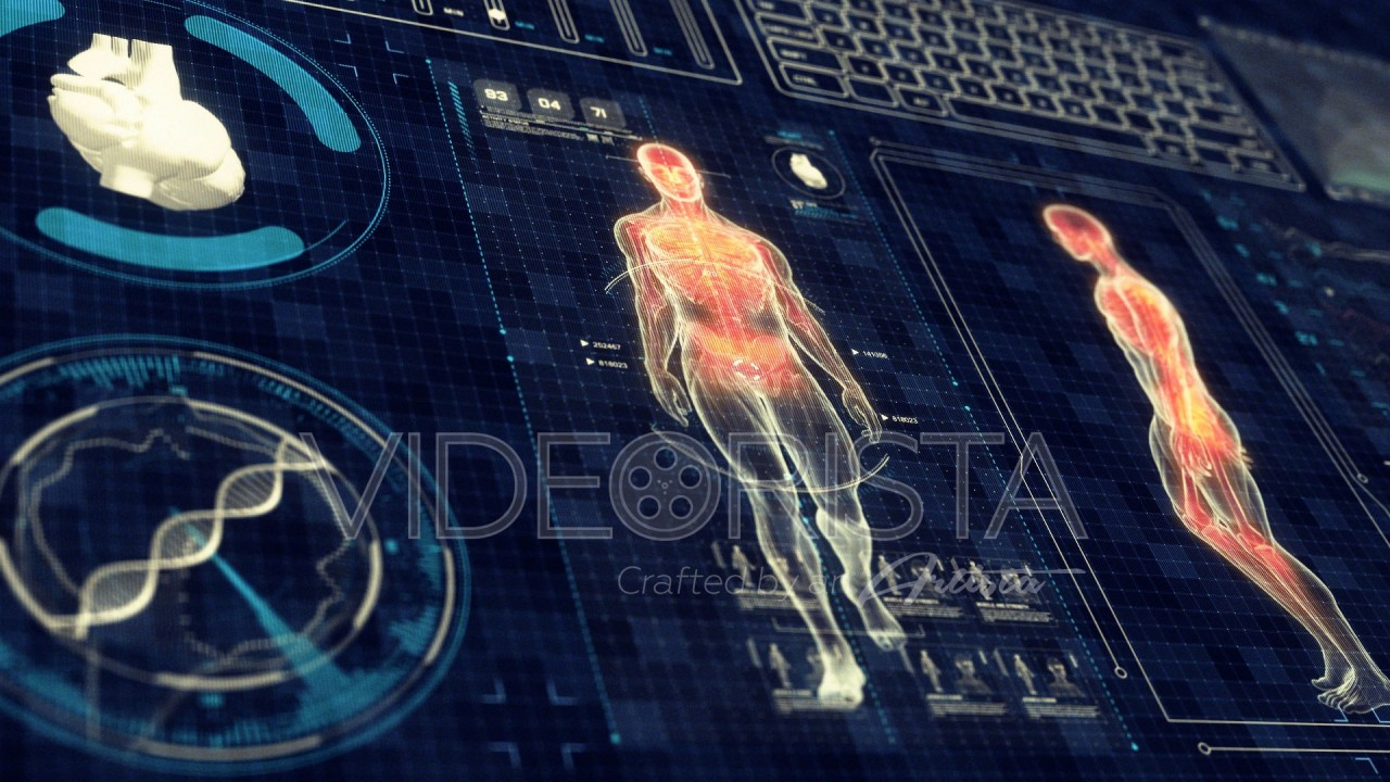 Human Anatomy WALKING with Futuristic Touch Screen Scan Interface in ...
