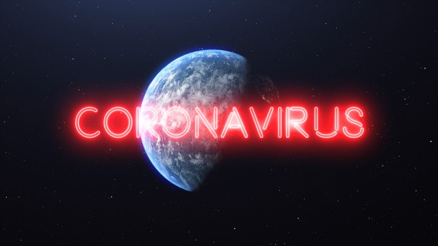Zoom away from the Earth to Space showing Full Planet Earth with Red Neon Glowing Sign with the word: Coronavirus. Covid-19 Pandemic Asian Flu Outbreak