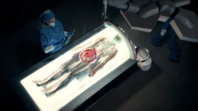 In the Near Future: Female Doctor uses Full Body Anatomy Futuristic Medical Augmented Reality Scanner.