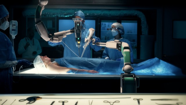Surgeons wearing special augmented reality glasses perform a delicate operation using medical surgical robot arms.