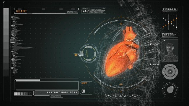 Heart Anatomy on Medical Futuristic Wireframe Orange Interface