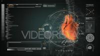 Anatomía Humana del Corazón en Interface Futurista Naranja