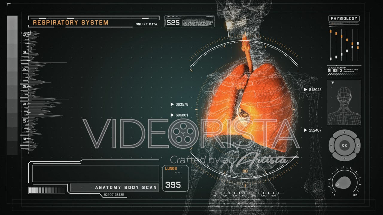 Futuristic Interface Display of Human Body Scan with Respiratory ...