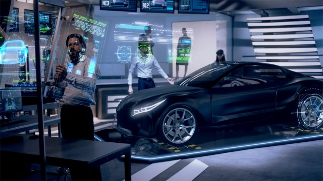 Engineers analyzing futuristic black car and futuristic with digital screens.