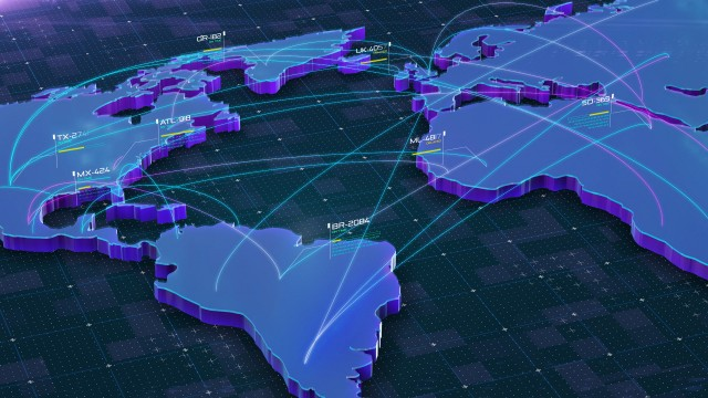Global Connections over World 3D Map. Main destinations with air traffic. Global Flights through main cities.