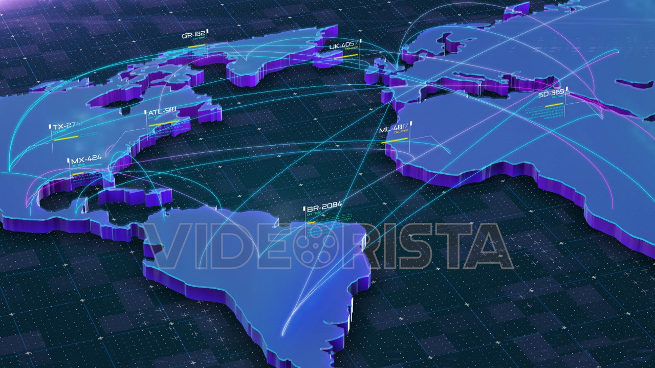 Global Connections Over World 3d Map Main Destinations With Air - Us-air-traffic-map