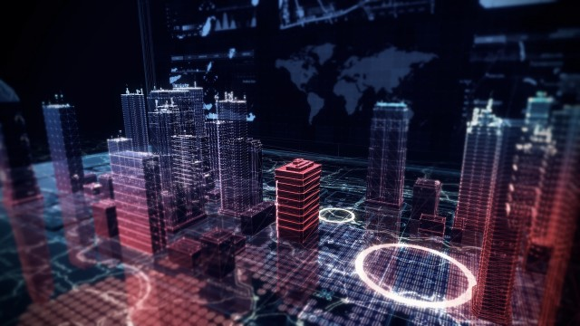Virtual City Aerial Drone Flight Simulation on Cybernetic Space with Ultra HD Infographics and Digital Buildings