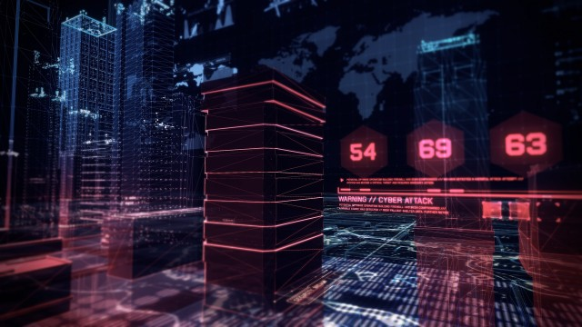 Cyber Attack Simulation over Holographic Buildings with Futuristic Infographics