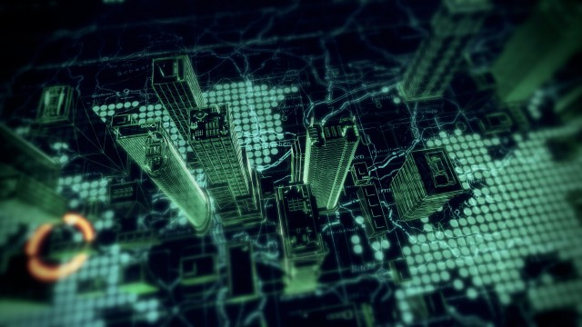 Cyber City  Flyover - Virtual Computer Projection
