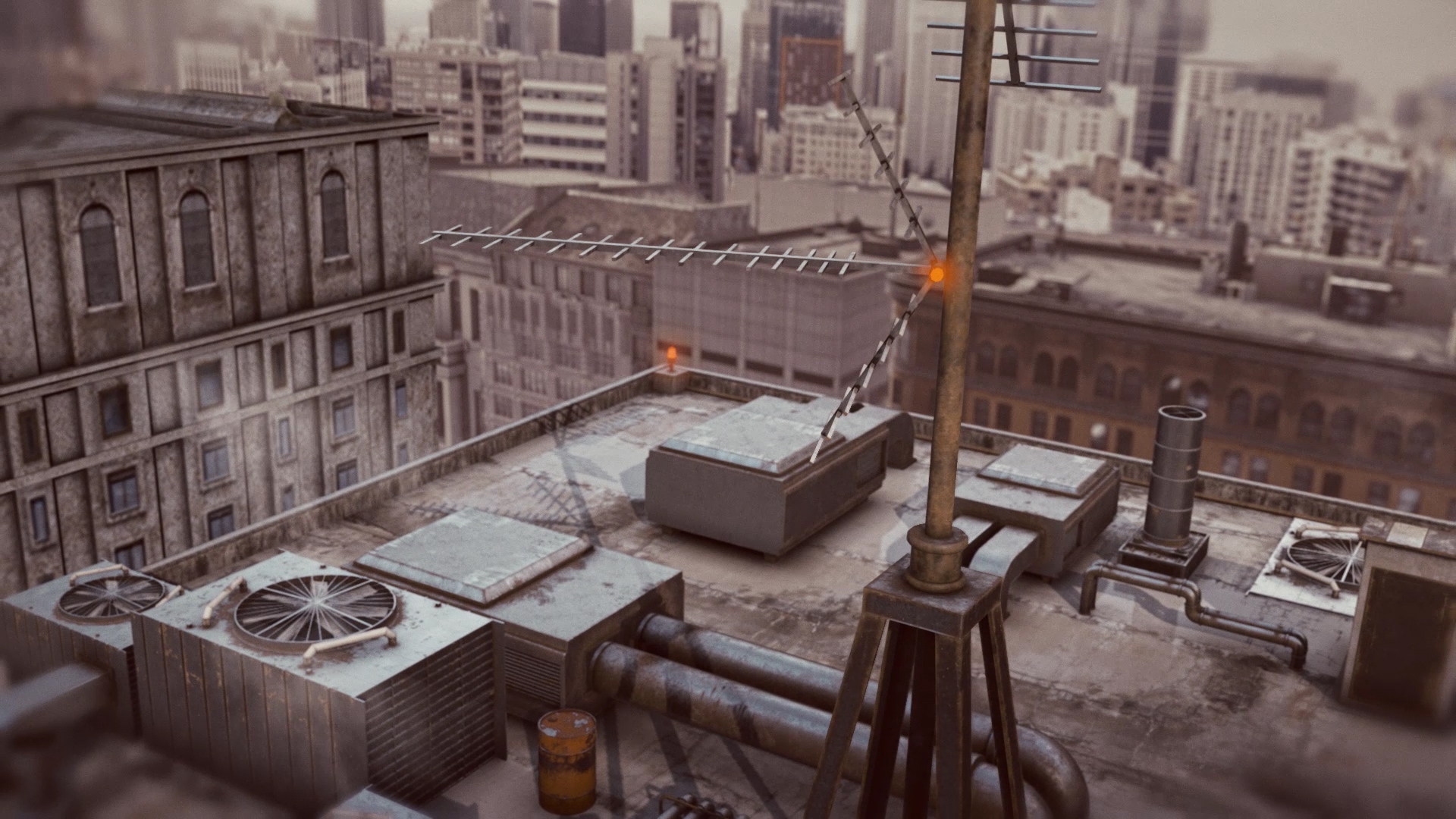 Flying Over Building Rooftop With Cooling Ventilation