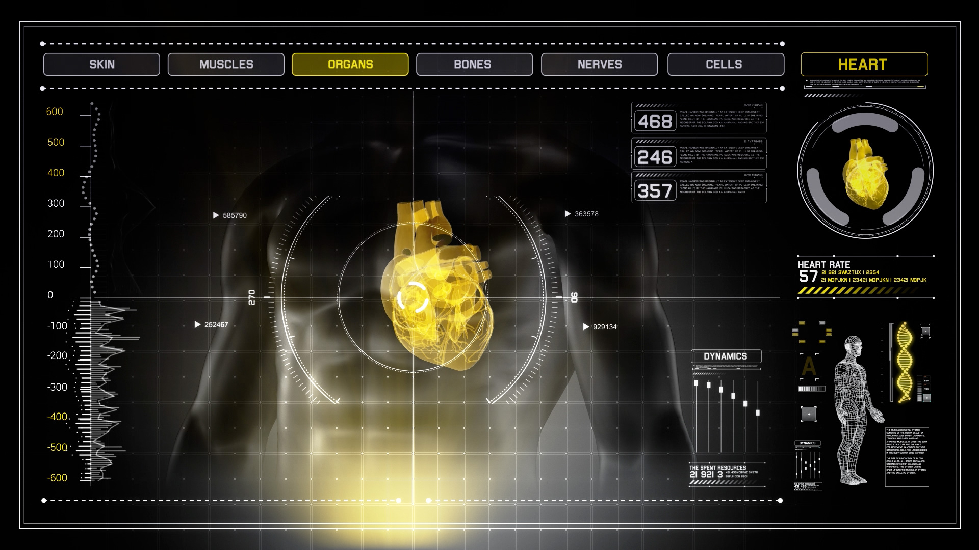 Human Anatomy Walking With Yellow Touch Screen Scan Infographics In Skin As A Interface Heart X Ray